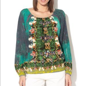 Desigual Kelly Gypsy Peasant Blouse Floral Small